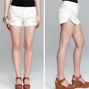 Free People Tulum Embroidered Ripped Jean Shorts